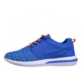 Nike Roshe Run 3M Flyknit Blue Orange мужские кроссовки