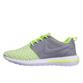 Nike Roshe Run 3M Flyknit Green Grey мужские кроссовки