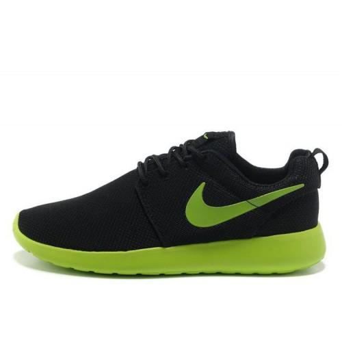 Nike Roshe Run Black Green мужские кроссовки