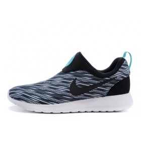 Nike Roshe Run Slip On GPX Black on White мужские кроссовки