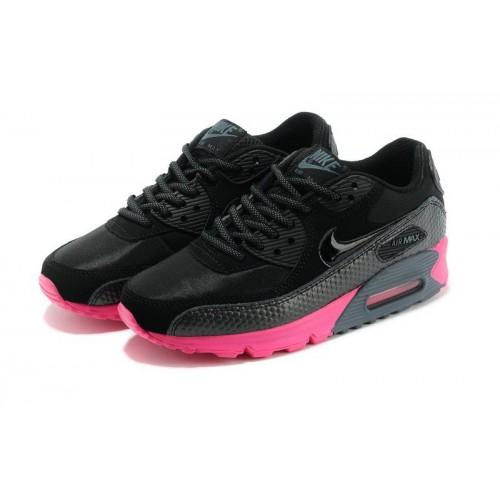 Nike Air Max 90 Premium Black Pink женские кроссовки