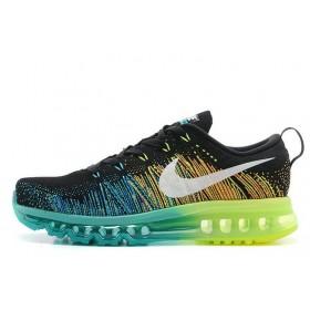 Nike Flyknit Air Max Black Volt Dark Green Algae White женские кроссовки