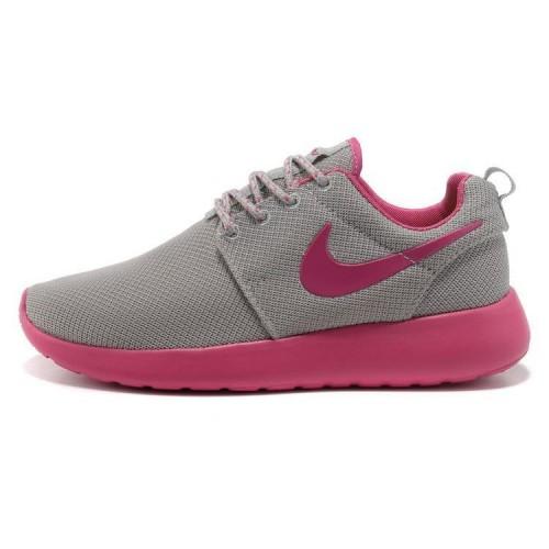 Nike Roshe Run Pink Grey женские кроссовки