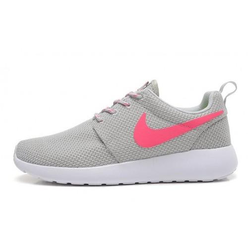 Nike Roshe Run Grey Pink женские кроссовки