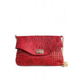 Кожаная сумка-клатч PoolParty Сlutch Croco Red