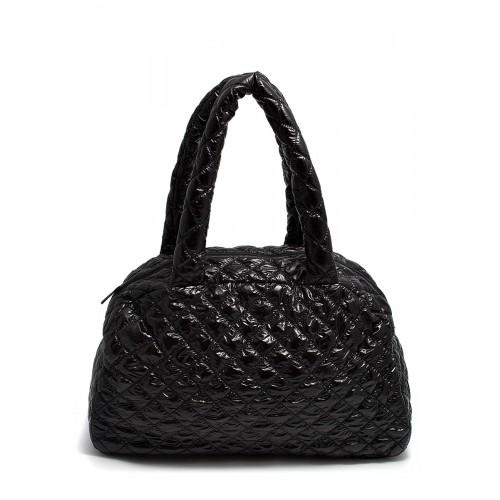 Стеганая дутая сумка-саквояж PoolParty NS Black