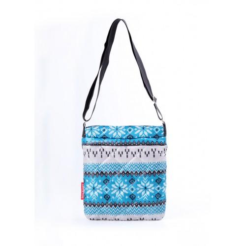 Стеганая дутая сумка-планшет PoolParty Nordic Blue