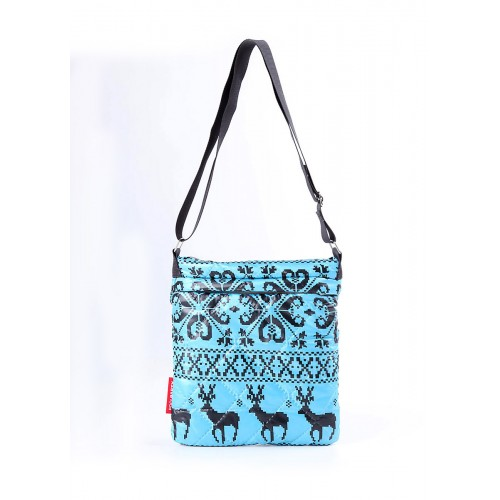 Стеганая дутая сумка-планшет PoolParty Deer Blue