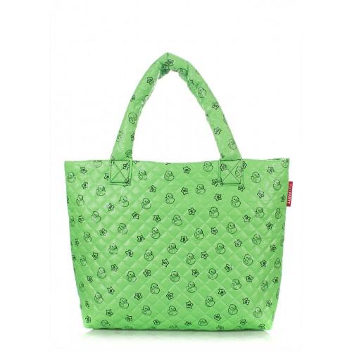 Стеганая дутая сумка PoolParty Ducks Green