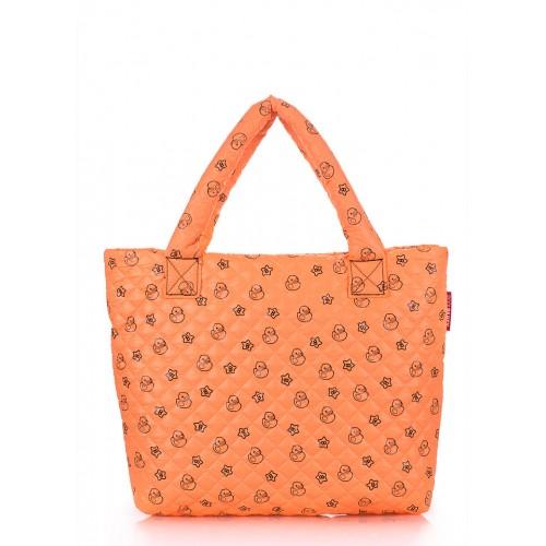 Стеганая дутая сумка PoolParty Ducks Orange