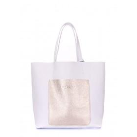 Кожаная сумка PoolParty Mania White Gold
