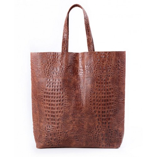 Кожаная сумка Pool Party City Croco Brown Bag