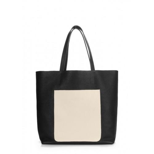 Женская кожаная сумка PoolParty Mania Black Beige