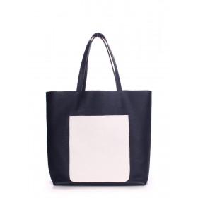 Кожаная сумка PoolParty Mania DarkBlue White