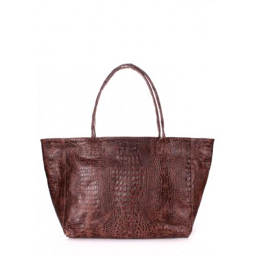 Женская кожаная сумка PoolParty Desire Bag Croco Brown
