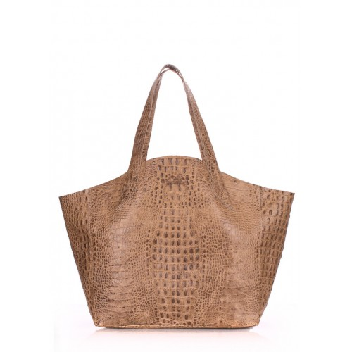 Кожаная сумка PoolParty Fiore Croco Bag Beige