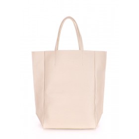 Кожаная сумка PoolParty Big Soho Bag Beige