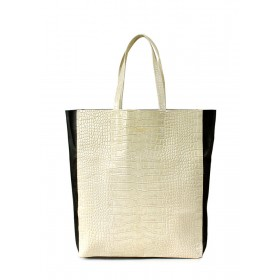 Кожаная сумка PoolParty City Bag Croco Beige Black