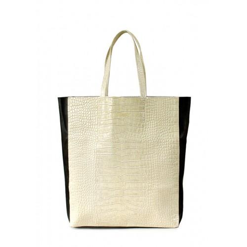 Женская кожаная сумка PoolParty City Bag Croco Beige Black