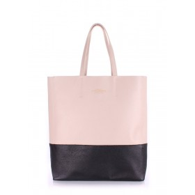 Кожаная сумка Pool Party City Beige Black Bag