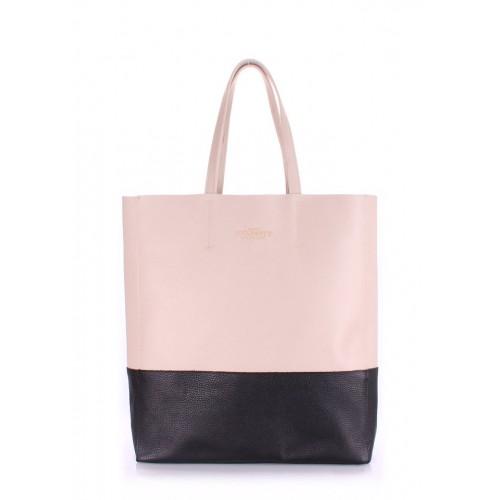 Женская кожаная сумка Pool Party City Beige Black Bag