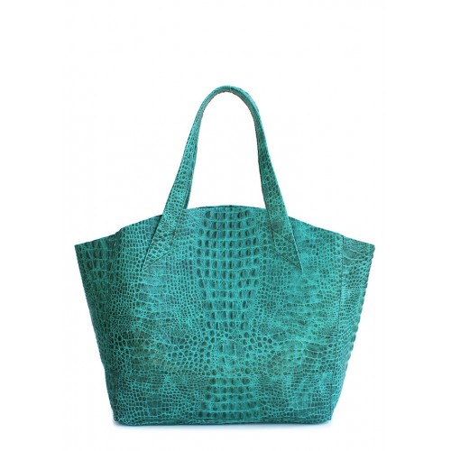 Женская кожаная сумка PoolParty Fiore Croco Bag Green
