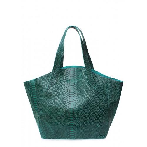Женская кожаная сумка PoolParty Fiore Snake Bag Green