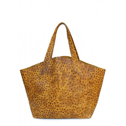 Женская кожаная сумка PoolParty Fiore Struzzo Bag Mustard