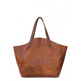Кожаная сумка PoolParty Fiore Struzzo Bag Brown