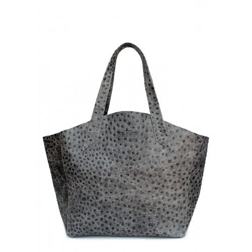 Женская кожаная сумка PoolParty Fiore Struzzo Bag Grey