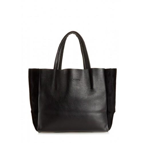 Женская кожаная сумка PoolParty Soho Bag Black Velour