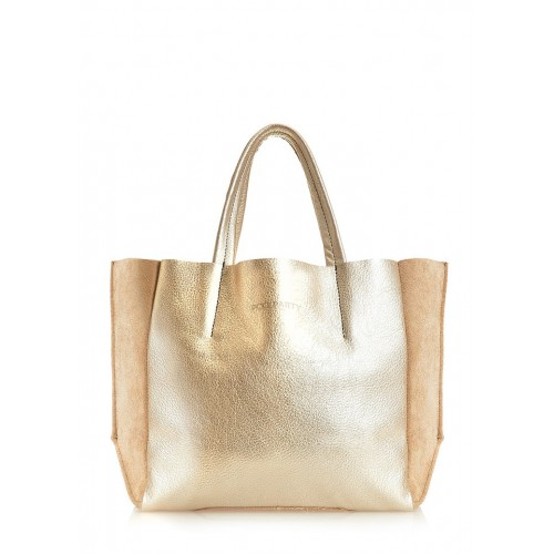 Кожаная сумка PoolParty Soho Bag Gold Beige