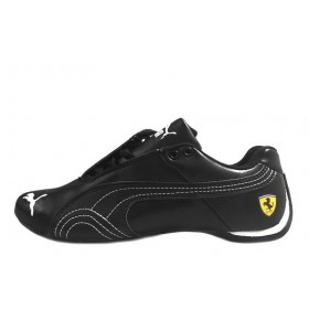 Puma Ferrari Low All Black White Strap мужские кроссовки