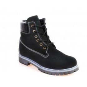 Timberland 6 inch Black White Threed Boots