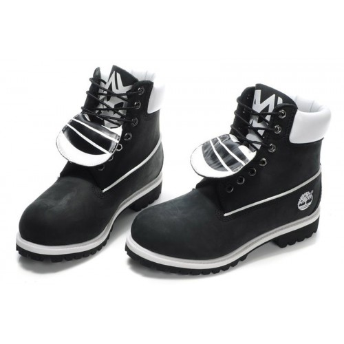 Timberland Classic 6 inch Black White Boots мужские Тимберленды