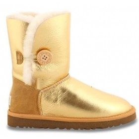 UGG Australia Bailey Button Metallic Gold женские угги