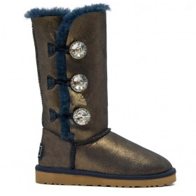 UGG Australia Bailey Button Triplet Bling Blue Gold женские Угги