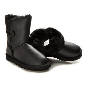 Детские UGG Australia Bailey Button Leather Black Baby