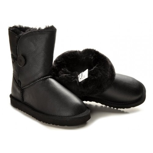 Детские UGG Australia Bailey Button Leather Black Baby