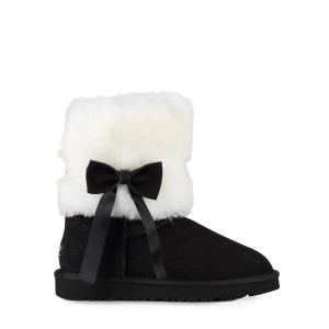 UGG Australia Classic Short Fur Bow Black женские угги